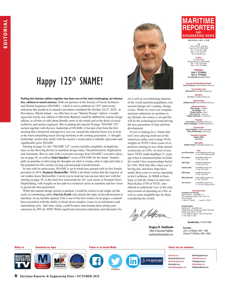 Maritime Reporter Magazine, page 6,  Oct 2018