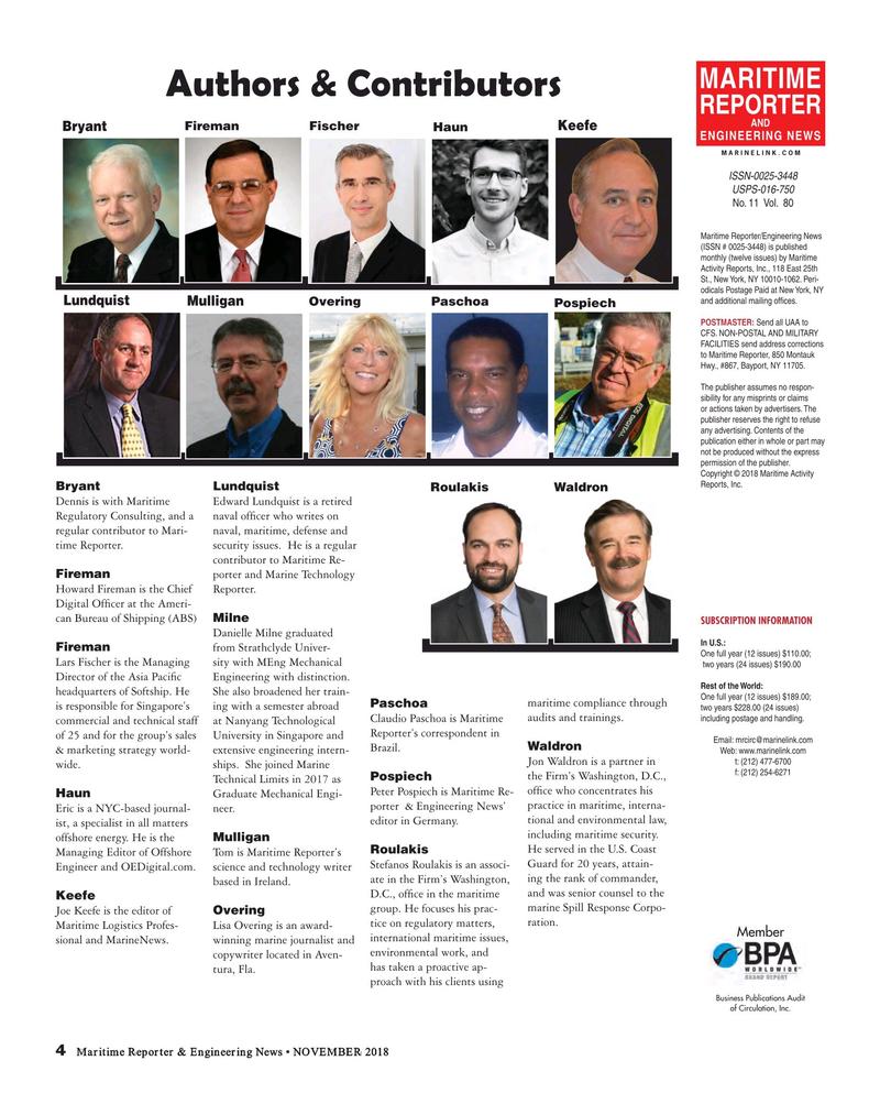 Maritime Reporter Magazine, page 4,  Nov 2018