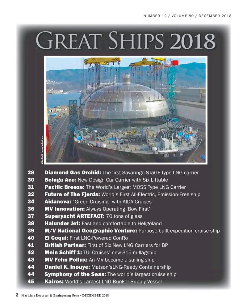 Maritime Reporter Magazine, page 2,  Dec 2018