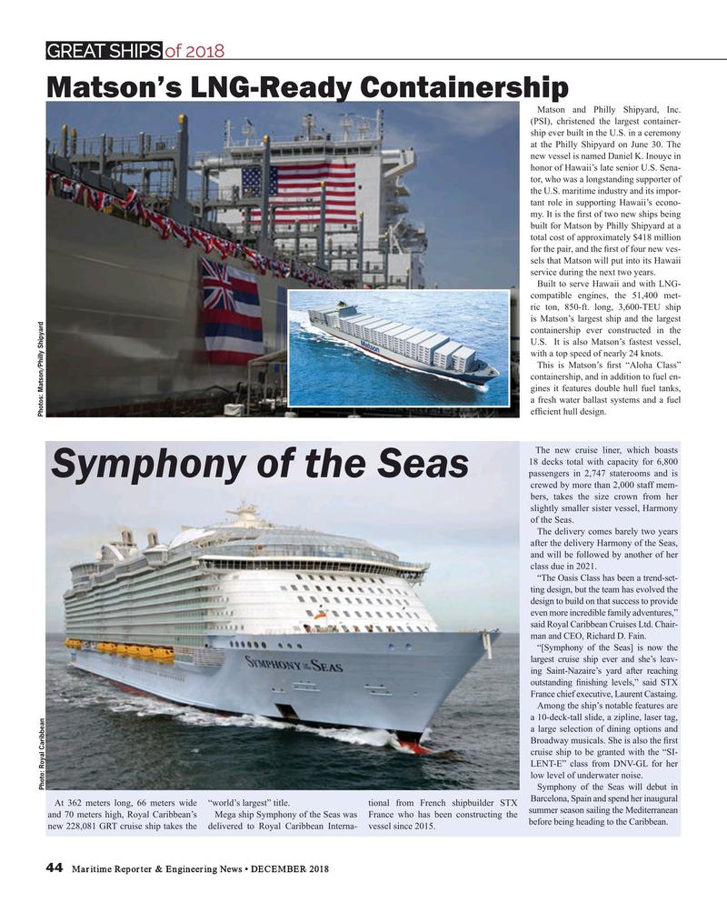 Maritime Reporter Magazine, page 44,  Dec 2018