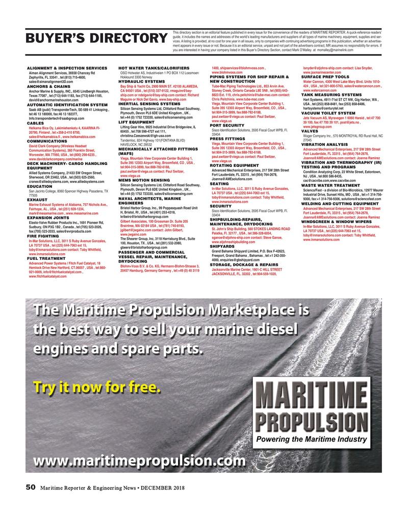 Maritime Reporter Magazine, page 50,  Dec 2018