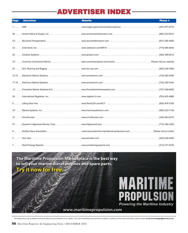 Maritime Reporter Magazine, page 56,  Dec 2018