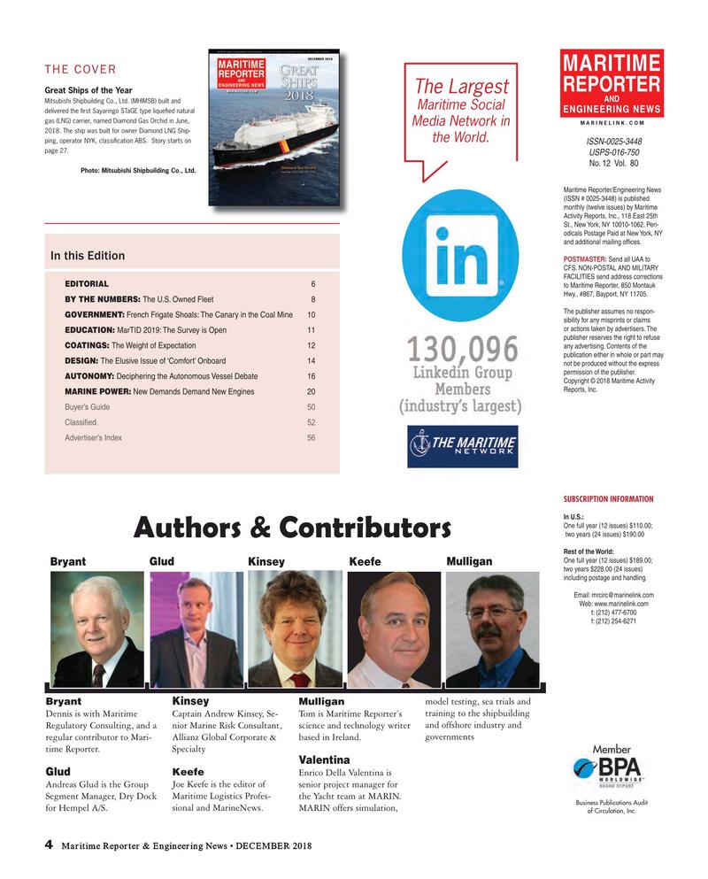 Maritime Reporter Magazine, page 4,  Dec 2018