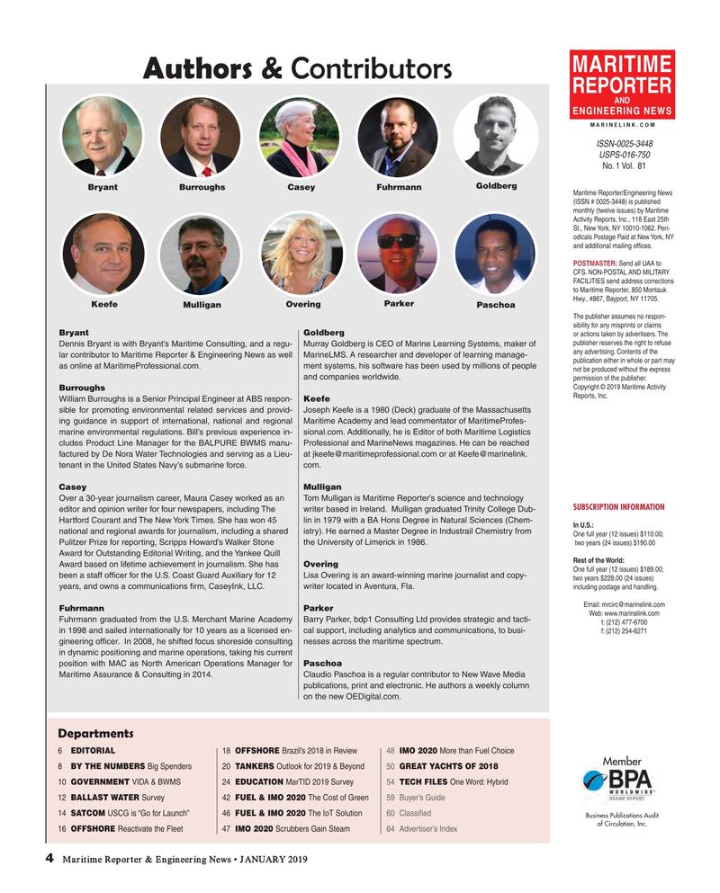 Maritime Reporter Magazine, page 4,  Jan 2019