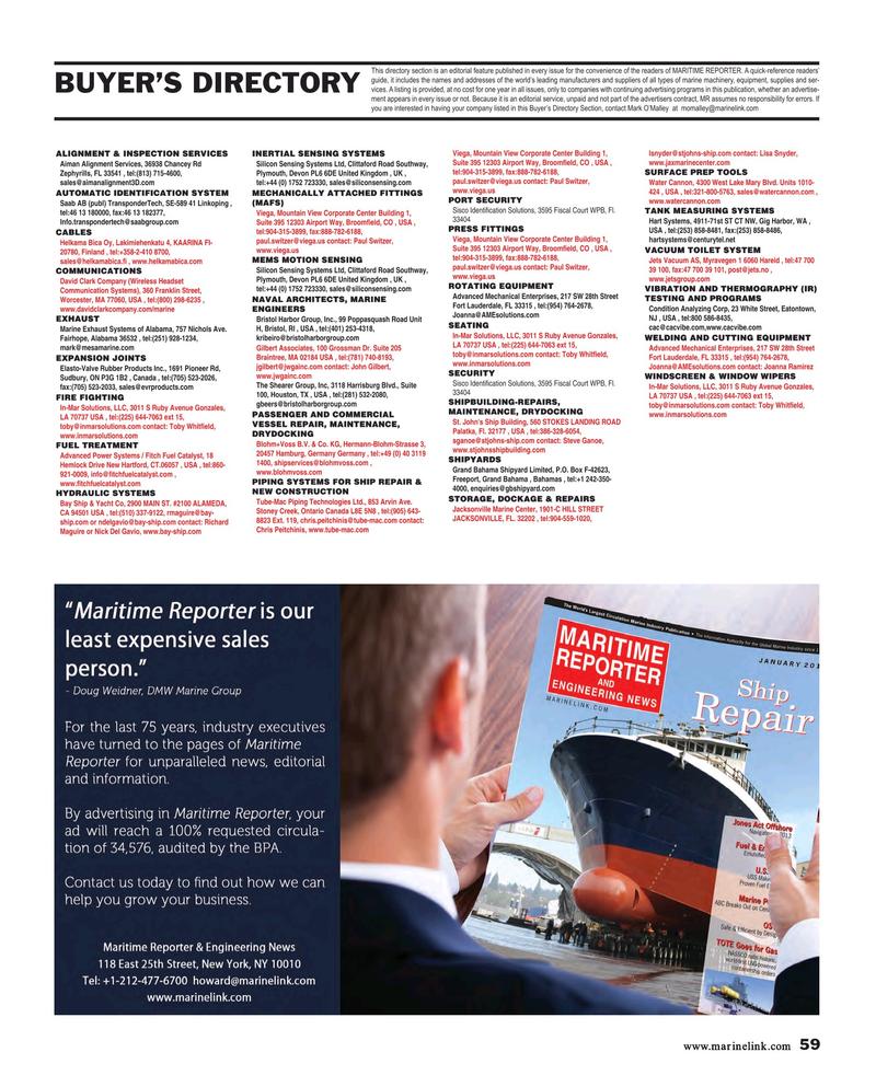 Maritime Reporter Magazine, page 59,  Jan 2019