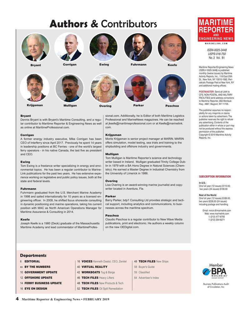 Maritime Reporter Magazine, page 4,  Feb 2019
