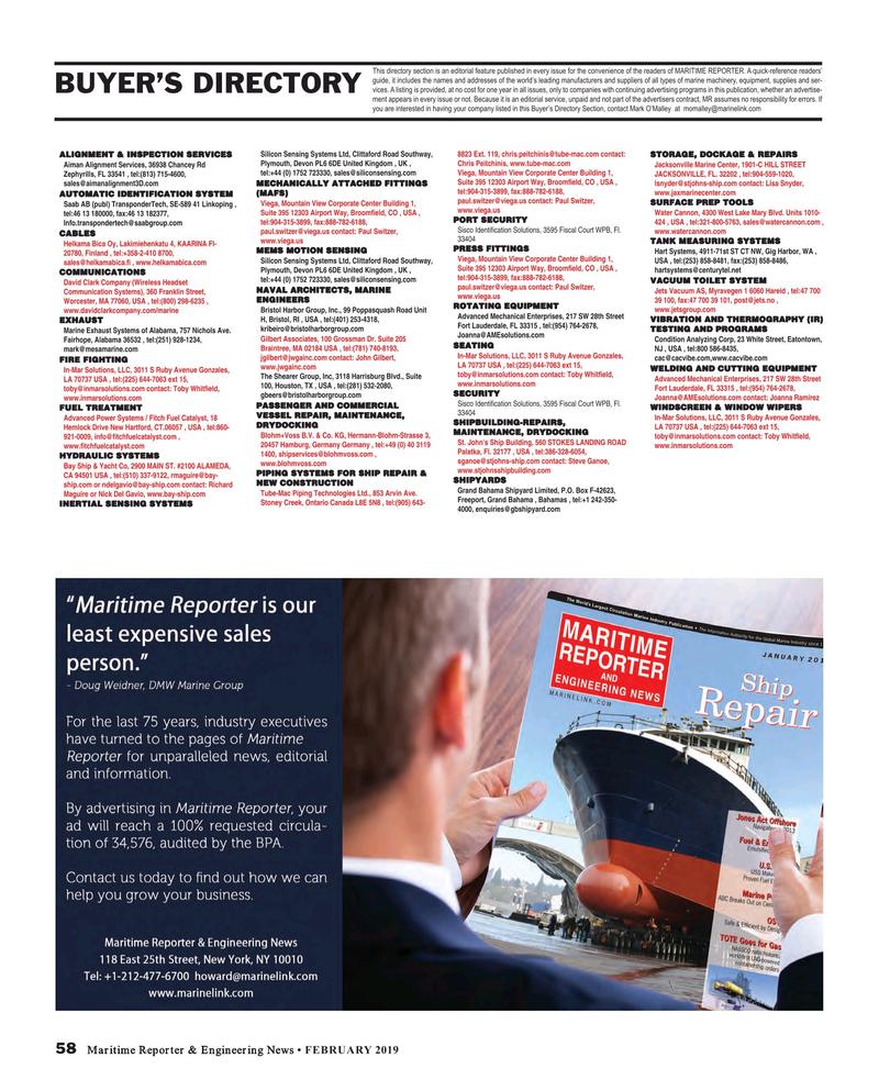 Maritime Reporter Magazine, page 58,  Feb 2019