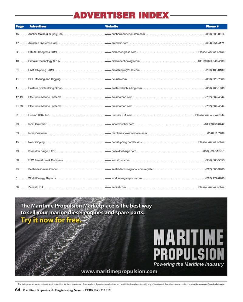 Maritime Reporter Magazine, page 64,  Feb 2019