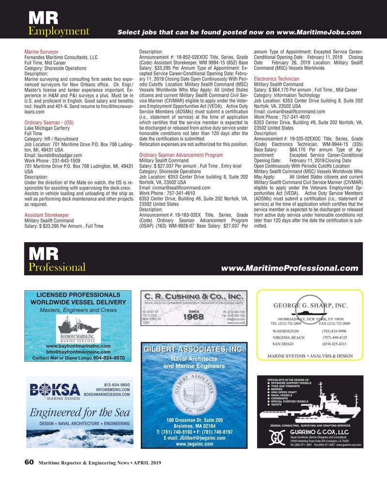 Maritime Reporter Magazine, page 60,  Apr 2019