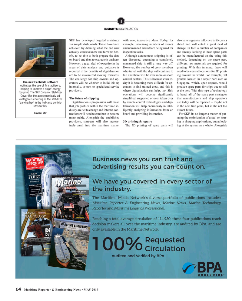 Maritime Reporter Magazine, page 14,  May 2019