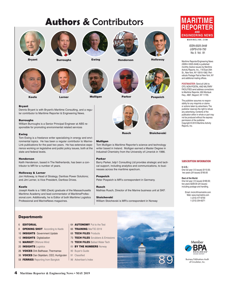 Maritime Reporter Magazine, page 4,  May 2019