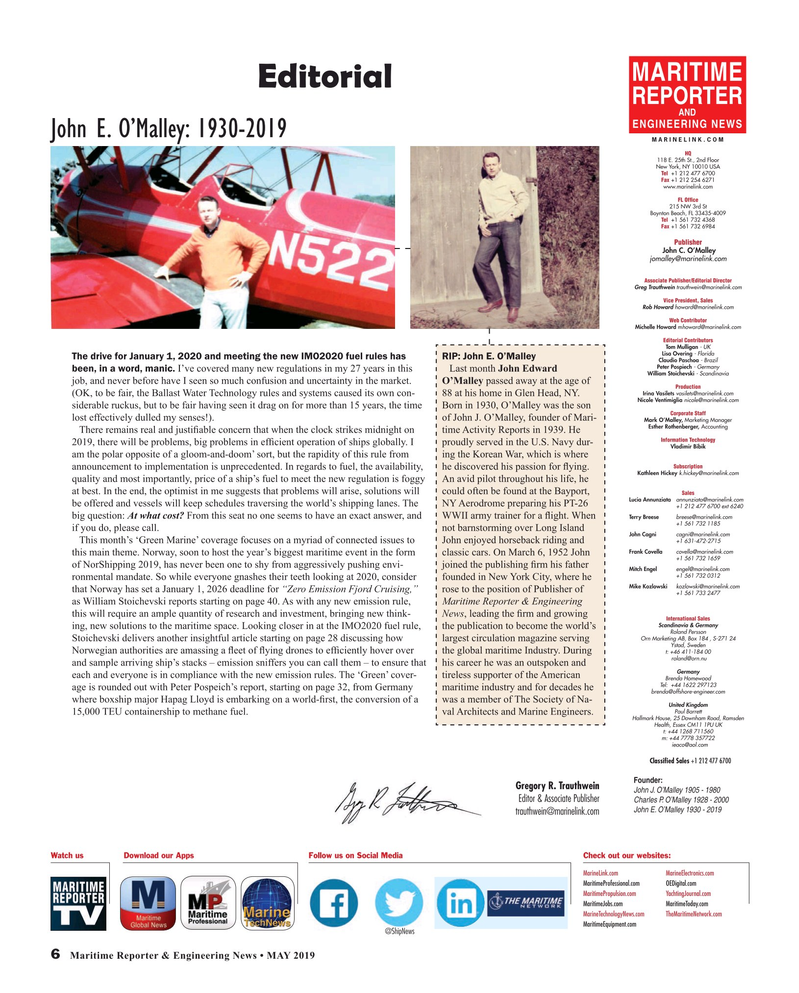 Maritime Reporter Magazine, page 6,  May 2019