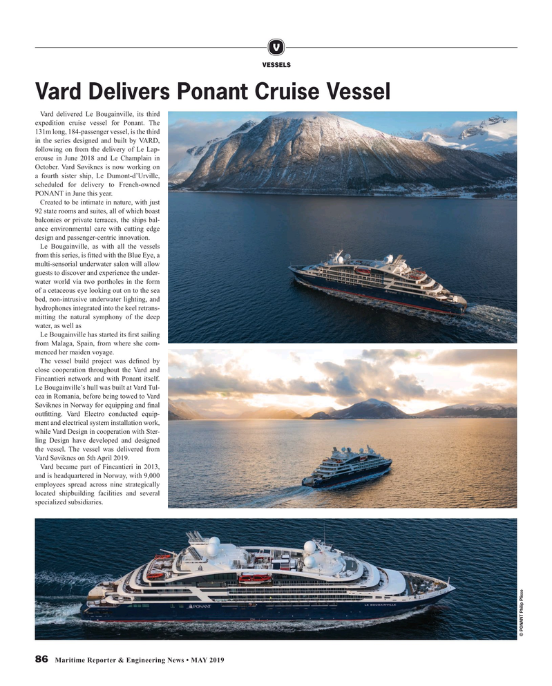 Maritime Reporter Magazine, page 86,  May 2019