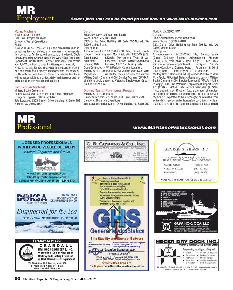 Maritime Reporter Magazine, page 60,  Jun 2019