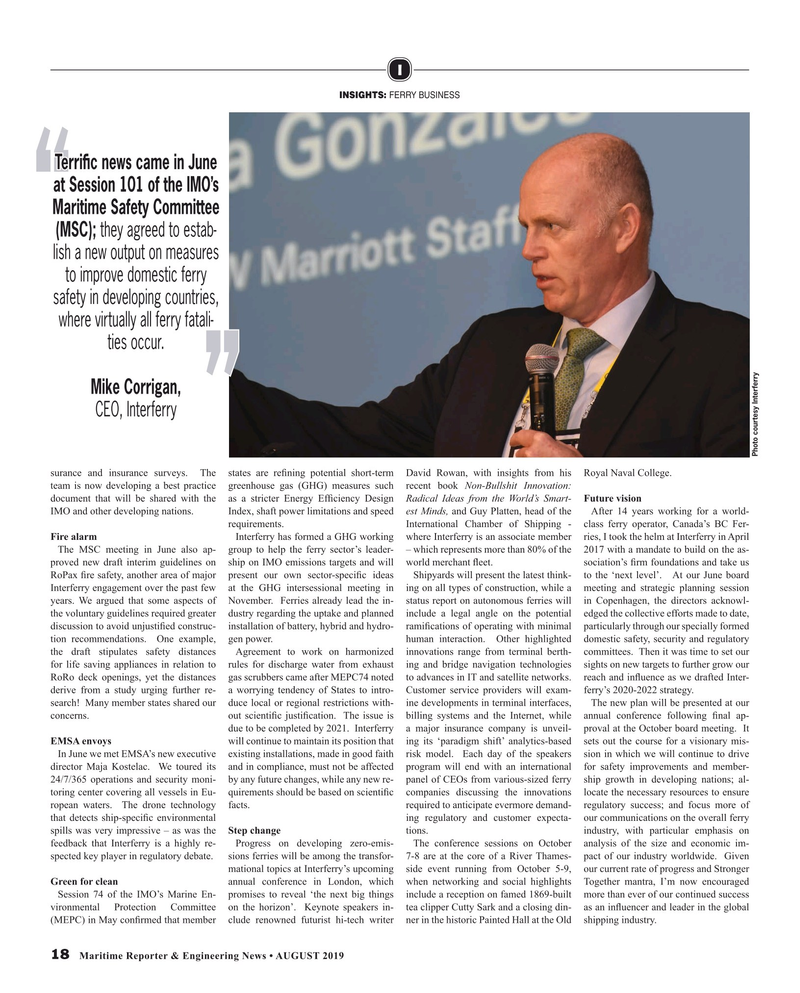 Maritime Reporter Magazine, page 18,  Aug 2019