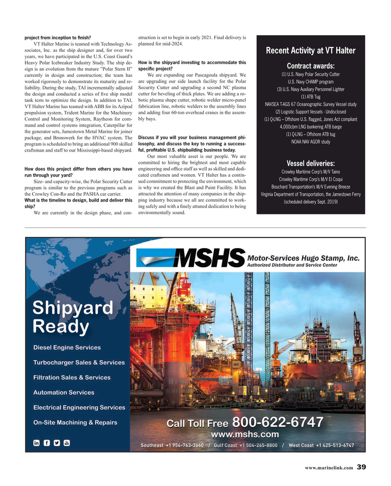 Maritime Reporter Magazine, page 39,  Aug 2019