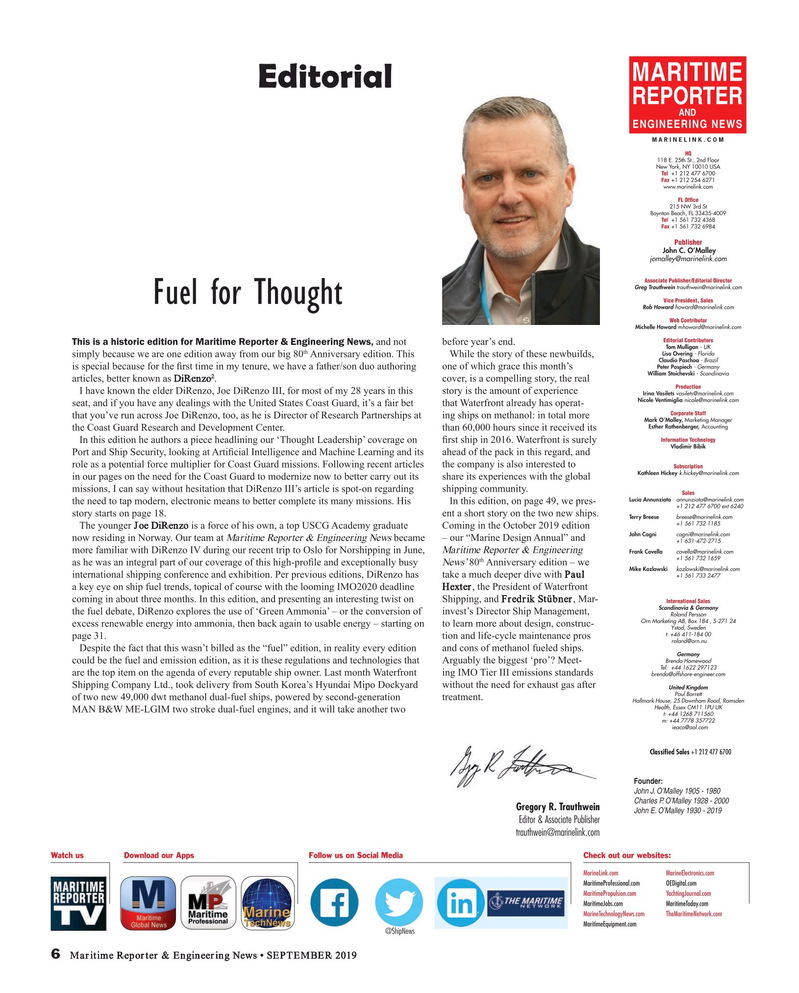 Maritime Reporter Magazine, page 6,  Sep 2019