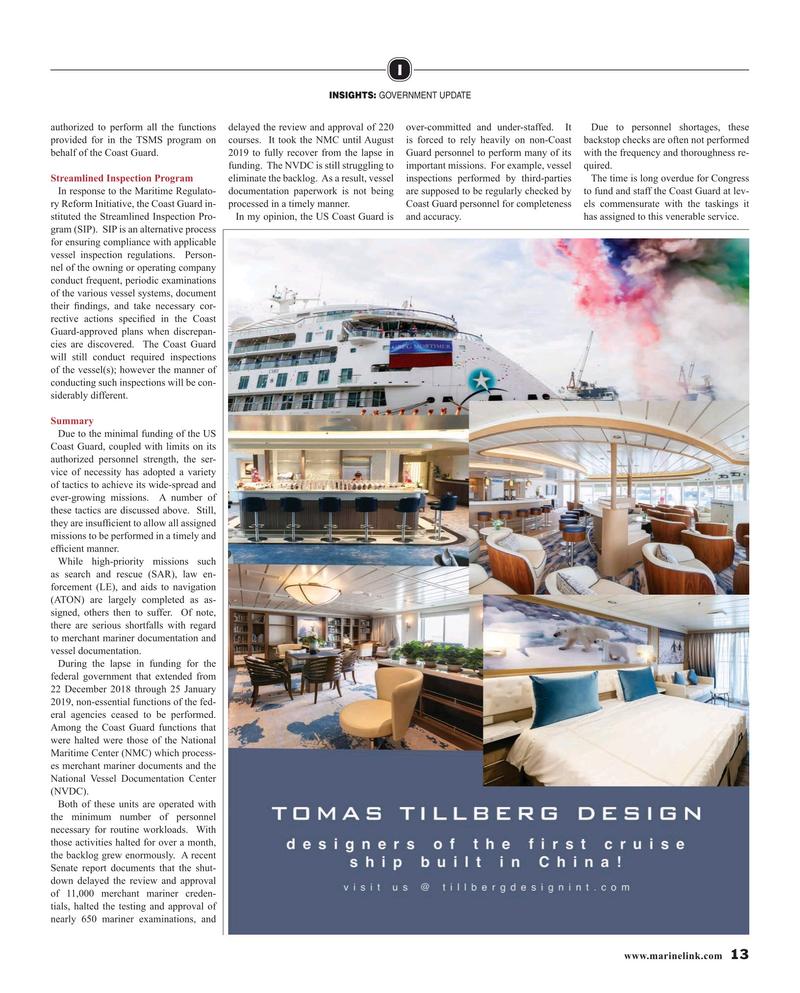Maritime Reporter Magazine, page 13,  Oct 2019