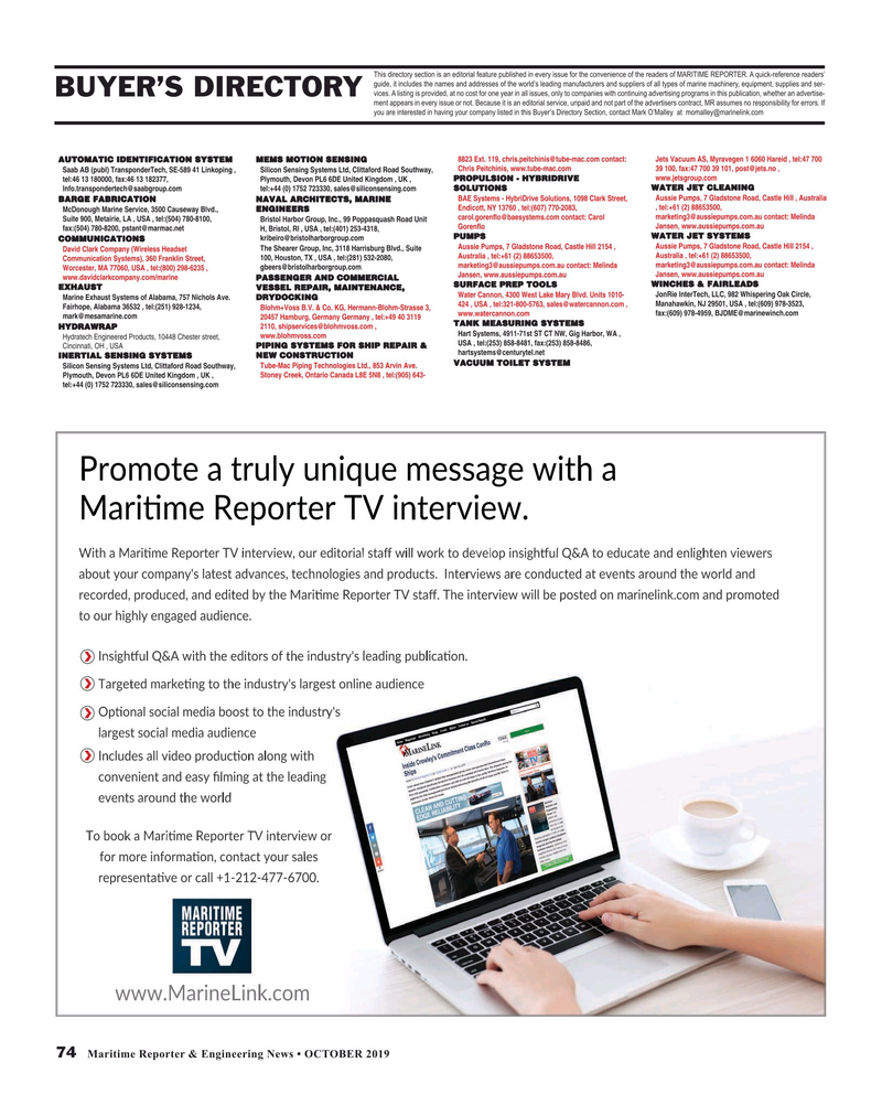 Maritime Reporter Magazine, page 74,  Oct 2019