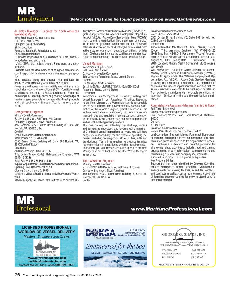 Maritime Reporter Magazine, page 76,  Oct 2019