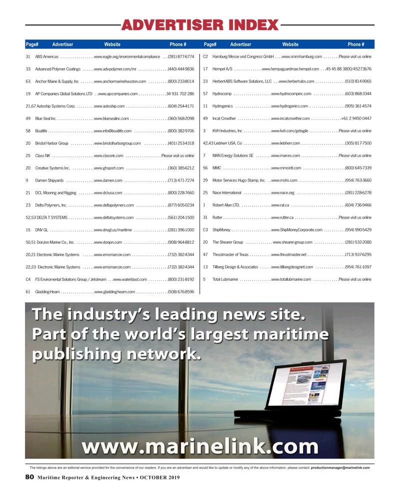 Maritime Reporter Magazine, page 80,  Oct 2019