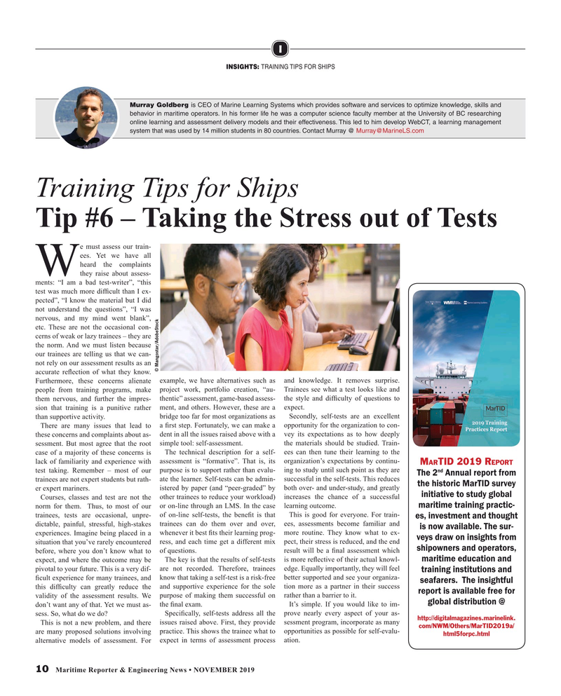 Maritime Reporter Magazine, page 10,  Nov 2019
