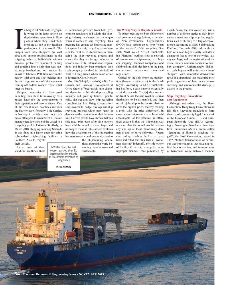Maritime Reporter Magazine, page 54,  Nov 2019