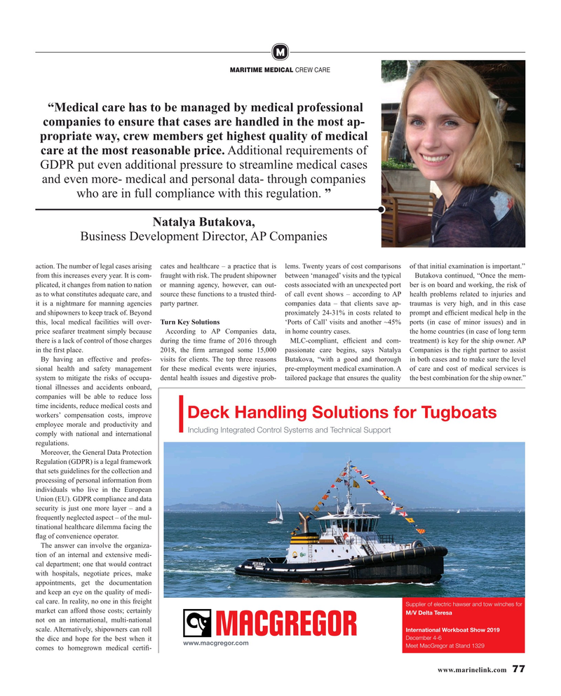 Maritime Reporter Magazine, page 77,  Nov 2019