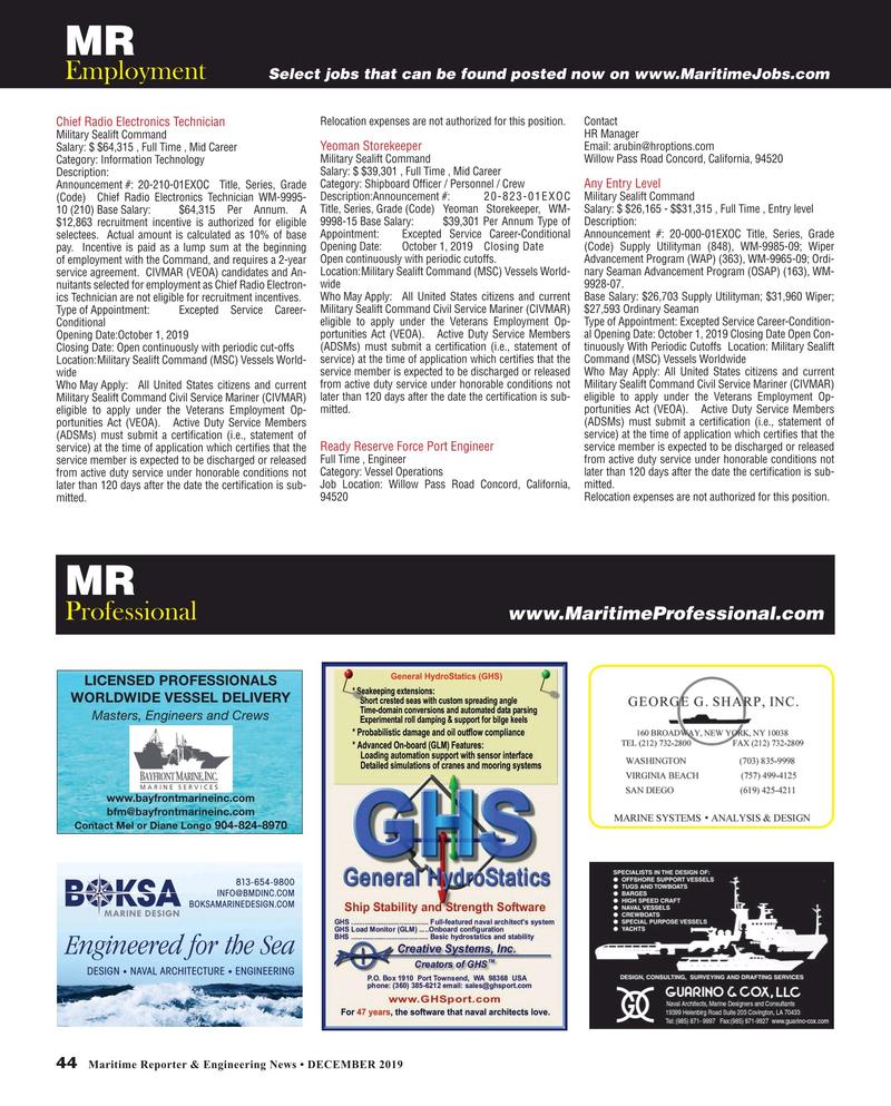 Maritime Reporter Magazine, page 44,  Dec 2019