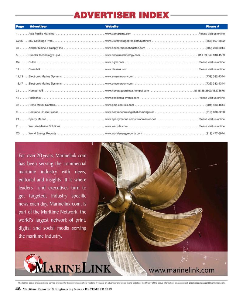 Maritime Reporter Magazine, page 48,  Dec 2019