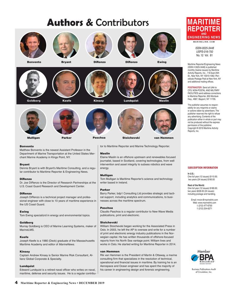 Maritime Reporter Magazine, page 4,  Dec 2019