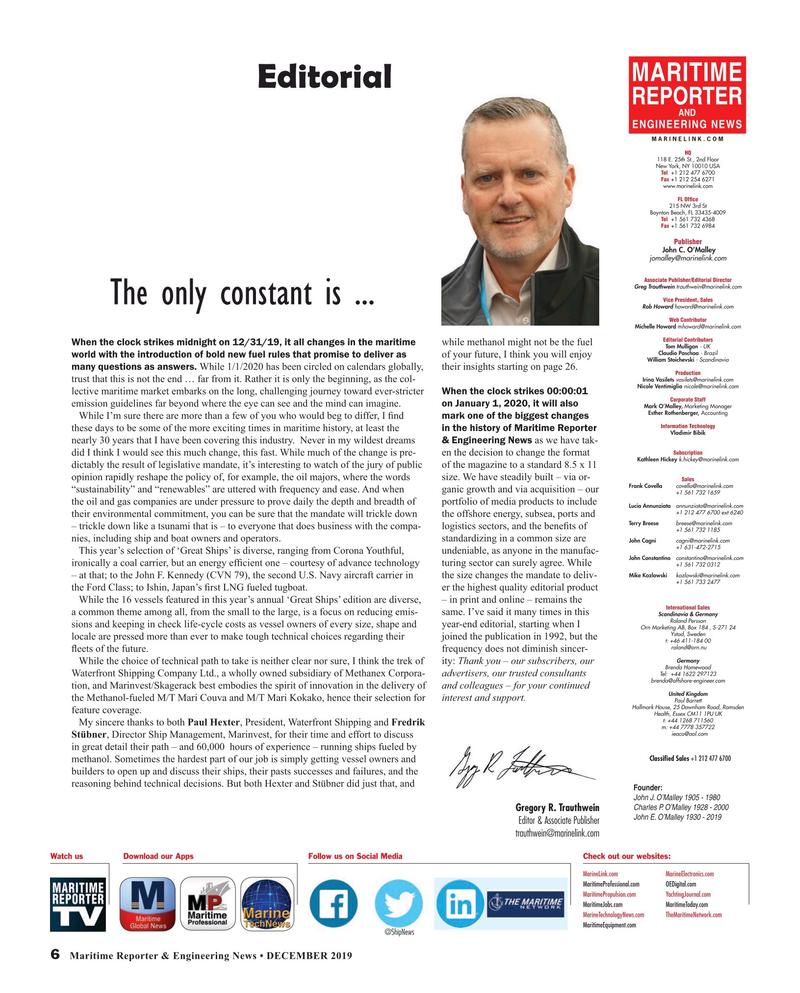 Maritime Reporter Magazine, page 6,  Dec 2019