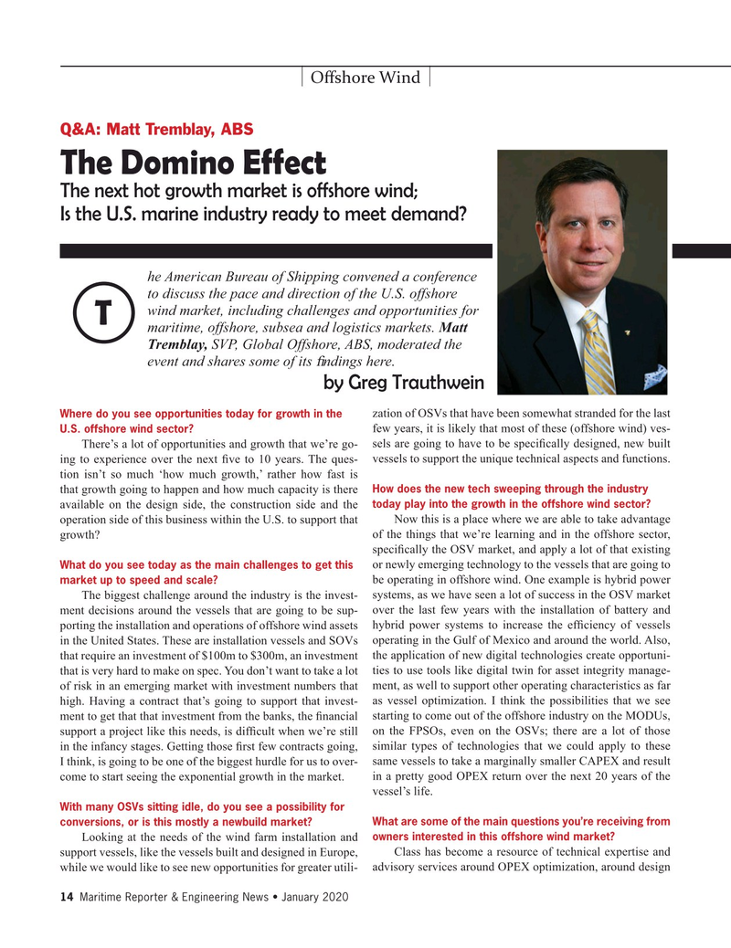 Maritime Reporter Magazine, page 14,  Jan 2020