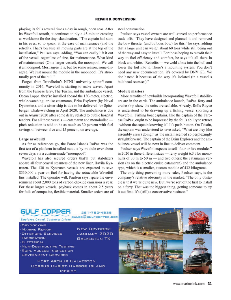 Maritime Reporter Magazine, page 31,  Jan 2020