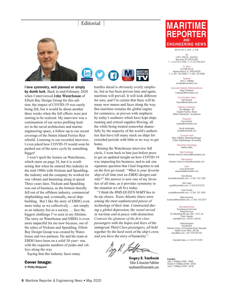 Maritime Reporter Magazine, page 6,  May 2020