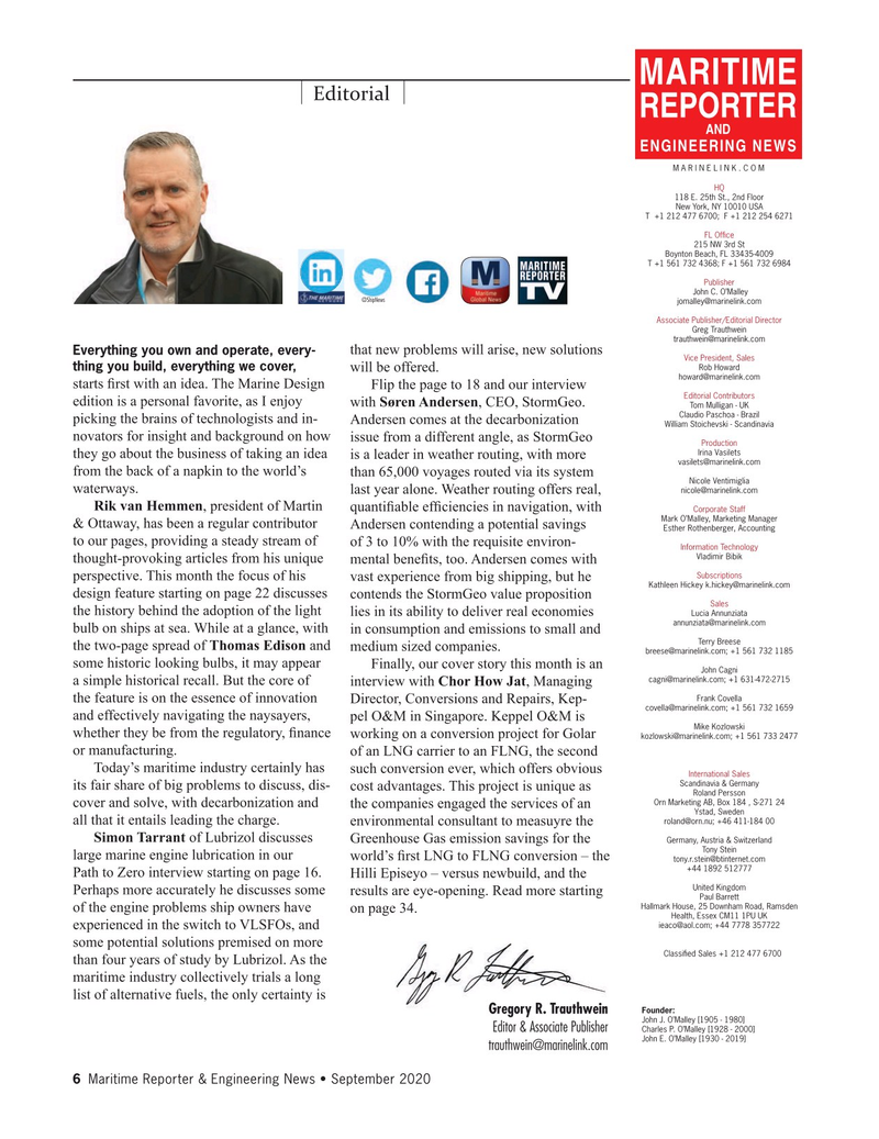 Maritime Reporter Magazine, page 6,  Sep 2020