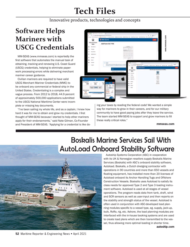 Maritime Reporter Magazine, page 52,  Apr 2021