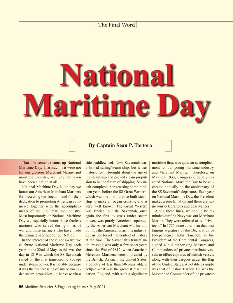 Maritime Reporter Magazine, page 56,  May 2021