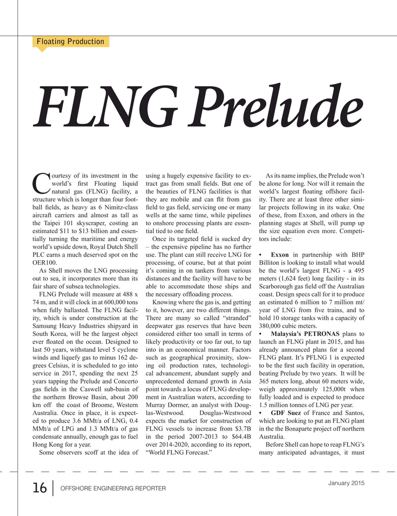 Offshore Energy Reporter Magazine, page 14,  Jan 2015