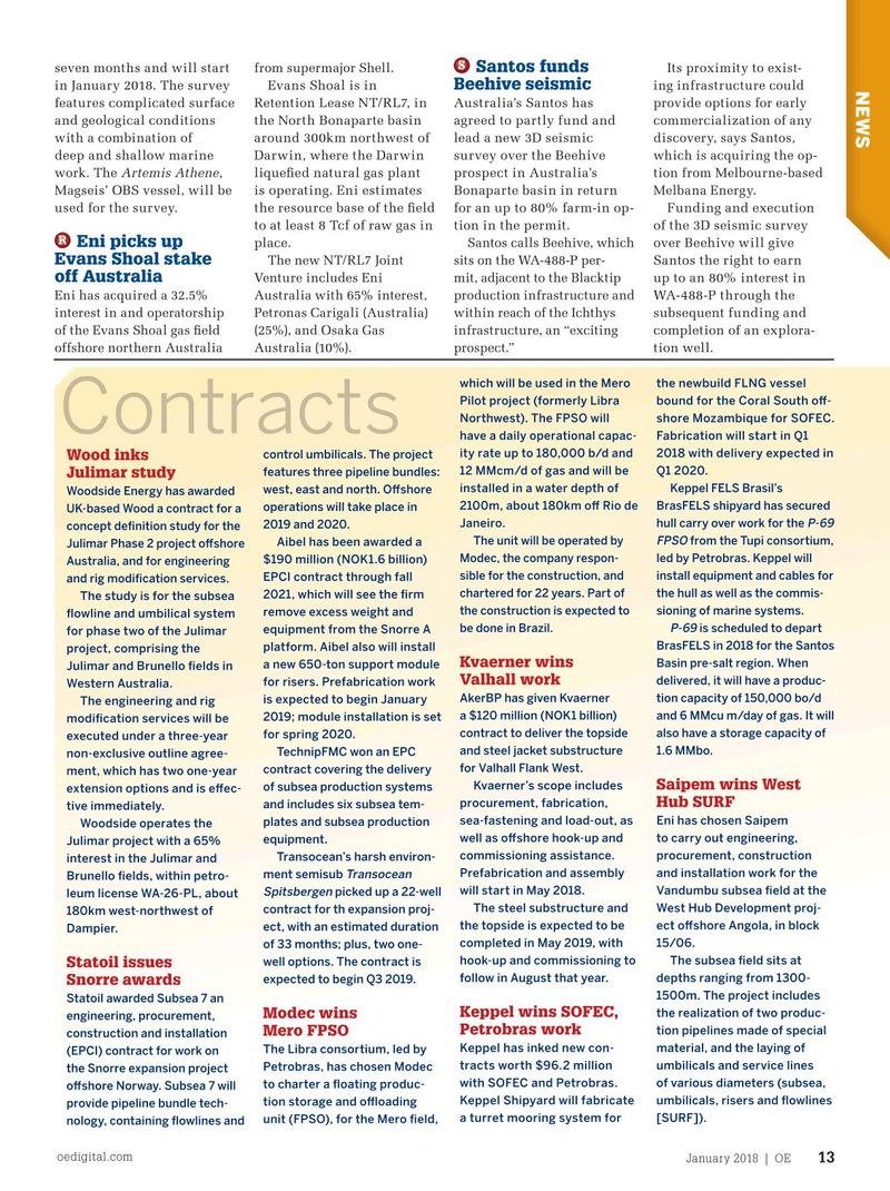 Offshore Engineer Magazine, page 11,  Jan 2018