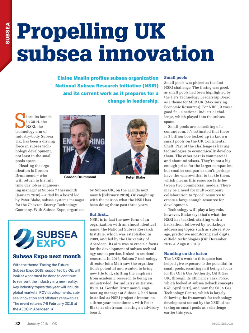 Offshore Engineer Magazine, page 30,  Jan 2018