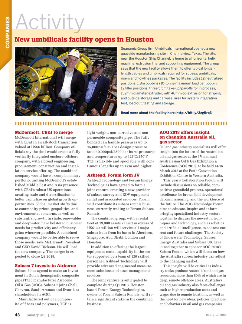Offshore Engineer Magazine, page 46,  Jan 2018