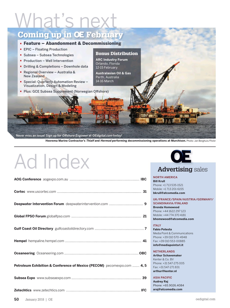 Offshore Engineer Magazine, page 48,  Jan 2018