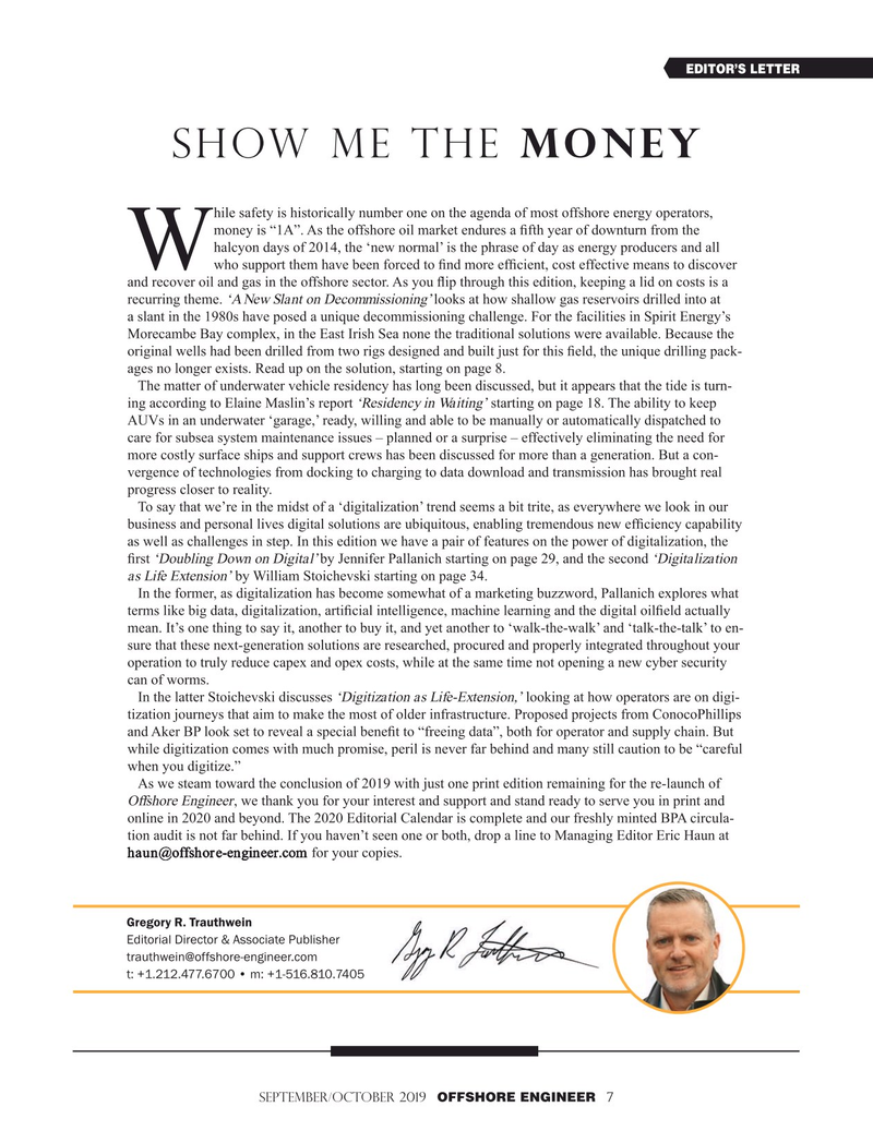 Offshore Engineer Magazine, page 7,  Sep 2019