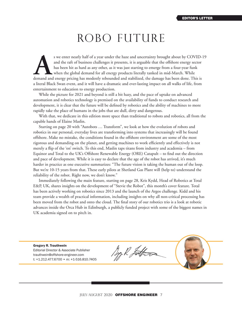Offshore Engineer Magazine, page 7,  Jul 2020