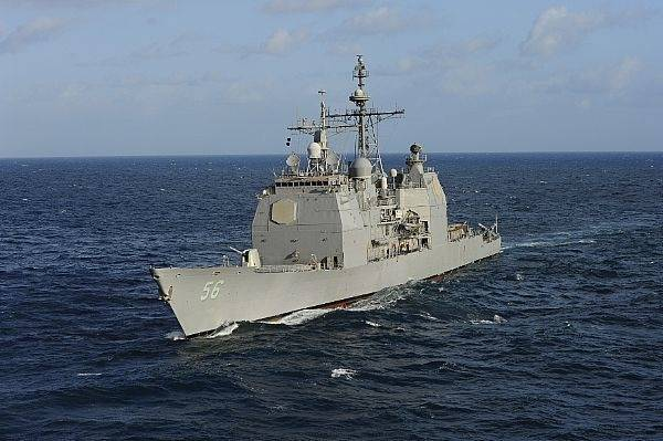Aegis cruiser USS San Jacinto: Photo credit USN