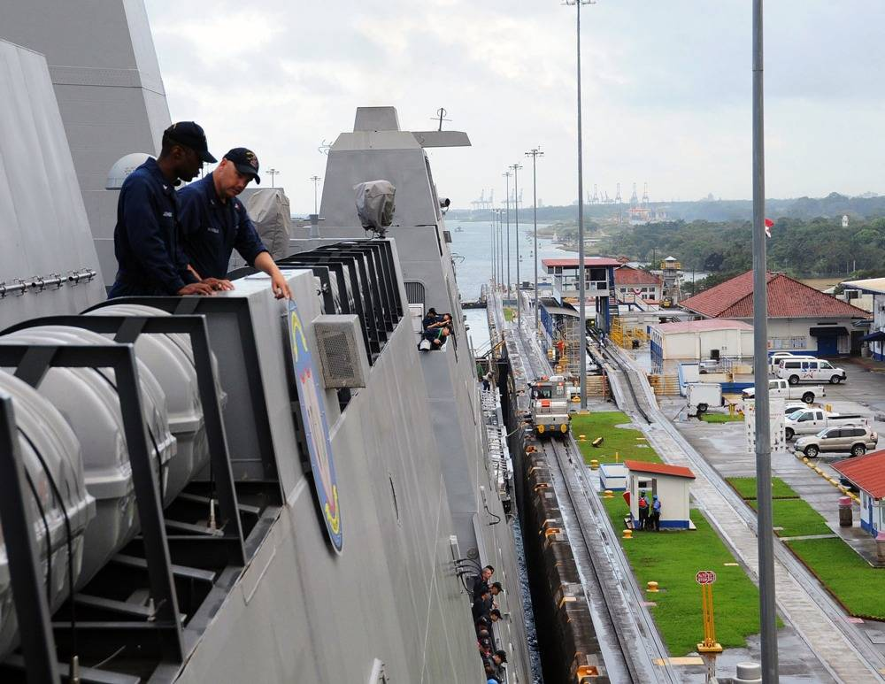 USS Anchorage in Panama Canal: Photo credit USN
