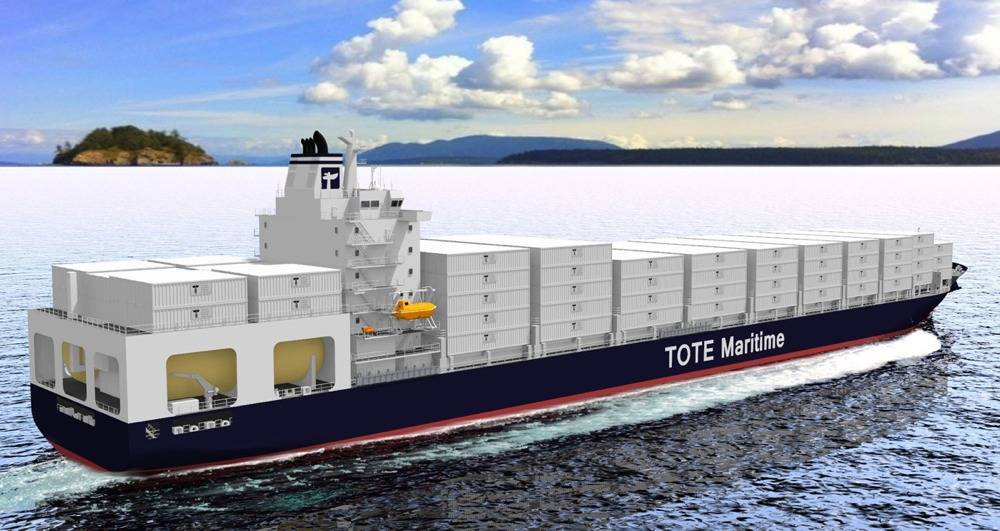 File TOTE Container Ship: Image credit MAN/TOTE