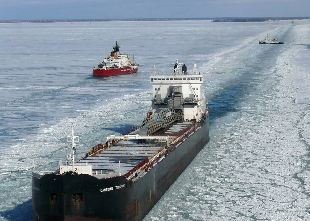 File The U.S. Coast Guard Cutters Mackinaw and Neah Bay break track lines for a commercial vessels in Lake St. Clair, Jan. 12, 2010