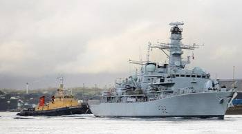 HMS Somerset Leaving Harbor: Photo credit MOD